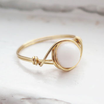 White Stone Ring - prom rings - 0% factory 100% handmade!