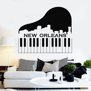 Wall Stickers Vinyl Decal New Orleans City USA Piano Music Unique Gift (ig199)