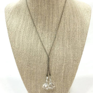 Art Deco Crystal Necklace, Lariat Necklace, Clear Faceted Crystals, Silver Chain, 1930s, Bridal Wedding Jewelry, Antique Jewelry,