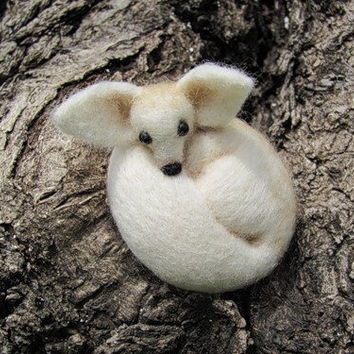 Fennec fox needle felted brooch by HandmadeByNovember on Etsy
