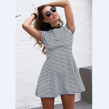 White and Black Stripe Short Sleeve Dress