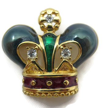 Crown Brooch - Enamel and Rhinestones, Royal, Costume Jewelry