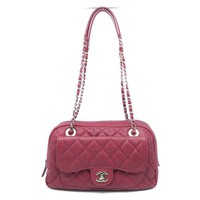 Chanel Quilting Caviar Leather Silver Metal Chain Shoulder Bag Red 1767