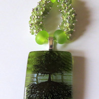 Peridot Necklace, Tree of Life Fused Glass Pendant, Sterling Silver, Smokeylady54