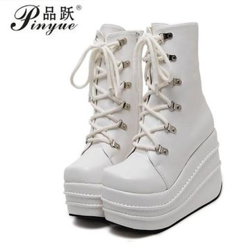 Botas Mujer Plataforma 2018 Winter Womens Boots Punk Style White Wedge High Heel Boots Lace Up Wedge Platform Boots Size 35-43