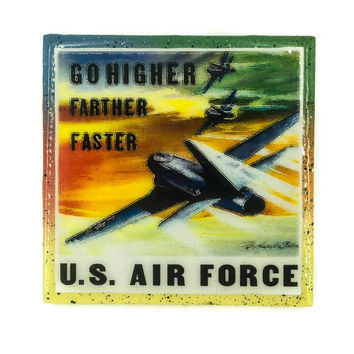 Handmade Coaster Vintage Patriotic - US Air Force - Handmade Recycled Tile Coaster