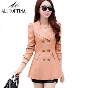 Woman 2017 Spring Clothes New Pattern Korean Turn-down Collar Waist To Show Thin Double Breasted  Autumn Trench Coat Fy08