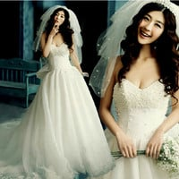 Unique White Modern Sweetheart Beaded Lolita Wedding Dress Bridal Gowns SKU-118149
