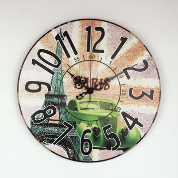 Pastoral style living room large decorative wall clock modern design Paris Eiffel Tower 3d wall decoration home watch wall gift