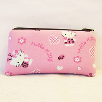 "Hello Kitty the Love Bug Cotton Padded Pipe Pouch 5.5"" / Glass Pipe Case / Spoon Cozy / Piece Protector / Pipe Bag / SMALL"