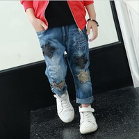 Hurave Boys Jeans Children's clothing Spring 2017 New  Denim Jeans Partchwork FIve Stars Hot Selling Casual Pants Trousers