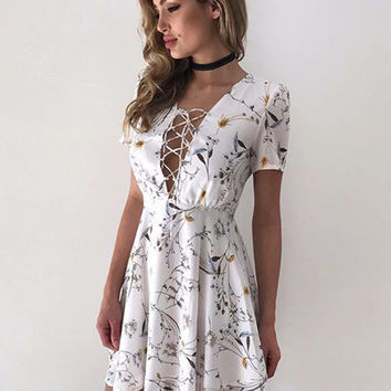 Deep V Criss Cross Floral Dress