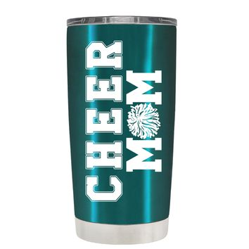 Pom Pom Cheer Mom on Teal 20 oz Tumbler Cup
