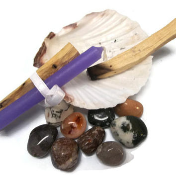 Luck and Spiritual Power Manifesting Kit Palo Santo Amethyst Crystal Purple Chime Candle Spiritual and Metaphysical Tools