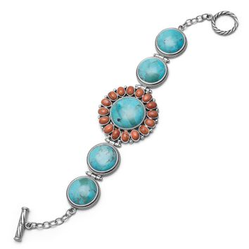 """7.5"""" Reconstituted Turquoise and Coral Sunburst Toggle Bracelet"""