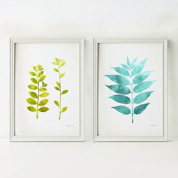 Nursery Digital download prints, Teal Nursery decor, Green Nursery wall art, Small art 5x7 Printable art, Colorful prints, Leaves wall decor