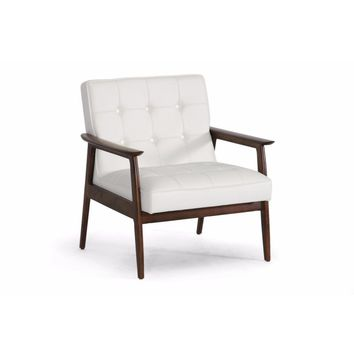 Stratham White Mid-Century Modern Club Chair By Baxton Studio