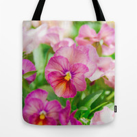 pansy in a garden Tote Bag by Yumehana Design Fine Art Photography