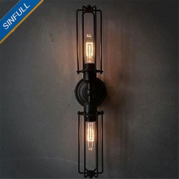 Black Antique Wrought Iron Wall Light Bedside Bathroom Vintage Wall Lamp Indoor Home Decor Industrial Lighting Fixture AC85-265V