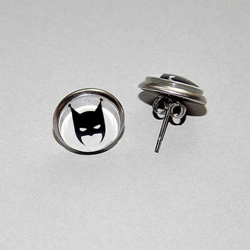 Batgirl Logo icon earrings, superhero batcat Logo earrings, Batgirl simbol patch, Batgirl earrings, Batgirl emblem, batcat comics earrings