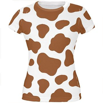 Halloween Costume Brown Spot Cow All Over Juniors T Shirt
