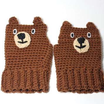 Childrens Bear fingerless mittens- animal fingerless gloves for kids- kids brown crochet mitts.