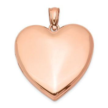 925 Sterling Silver Rose Gold-plated 24mm Plain Heart Locket