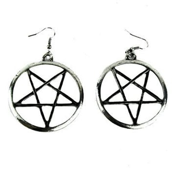 "2"" Large Woven Pentagram Earrings Alternative Occult"