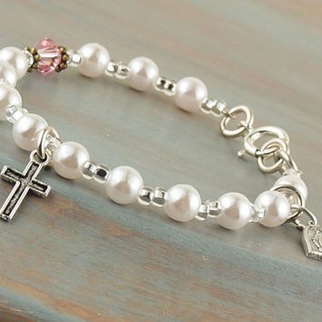 On Sale First Holy Communion Bracelet White Pearl Silver Tone Cross & Miraculous Medal Prayer Beads Fits Girls