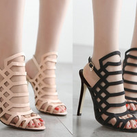 Womens Glamorous Ankle Strap Sexy Pattern Heels
