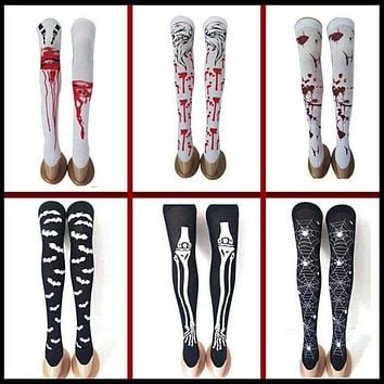 Halloween Black White Long Knee High Socks Costume Masquerade Carnival Cosplay Soft Wind Thigh Stockings Over The Knee