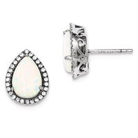 Sterling Silver Polished Opal & CZ Post Earrings