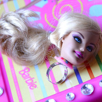 Blonde Barbie Doll Head Kawaii Adjustable Ring
