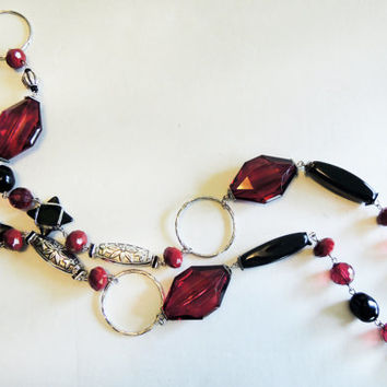 Red, Black, and Silver Long Necklace Handmade by Lindsey - Lia Sophia Inspired - Czech Glass Beads - Swarovski Crystal Elements -Crimson Red