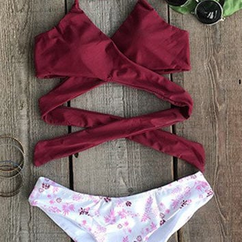 Cupshe Fall Floral Cross Bikini Set
