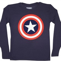 Buy Captain America Shield Long Sleeve Thermal Shirt Online at Oldschooltees.com