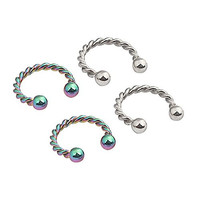 Ruifan 2prs 8mm 16G CBR Horseshoe Circular Rings Silver and Rainbow Titanium Anodized 316L Surgical Steel for Lip, Septum Piercing Jewelry & Cartilage 2.5mm Ball