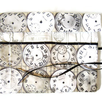 Pencil Roll/ Crochet Hook Case/ Cosmetic Brush Roll/  Arts and Crafts storage/ retro clocks/ Time traveler pattern