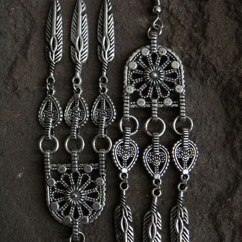 Silver Feather Earrings Metal Long Feather Jewelry Native American Indie Boho Feather Jewelry Rocker Earrings Tribal Earrings Silver Metal