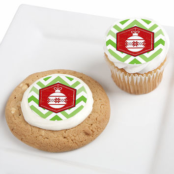 Merry & Bright - Chevron Red and Green - Christmas Party Edible Cupcake Toppers - 12 ct