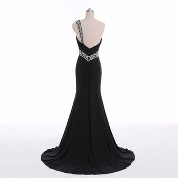 Elegant Black Mermaid Long Evening Beaded Formal Party Gowns One Shoulder