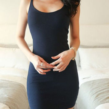 Blue Spaghetti Strap Mini Dress