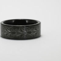 Feather Leaf Black Titanium Men's Band 8.35mm Wide