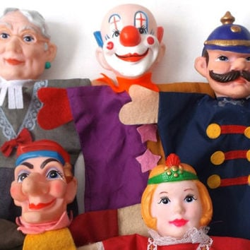 vintage 60s 70s hand puppet collection set of 5 collectible mid century retro toy princess jester policeman librarian clown pretend dolls