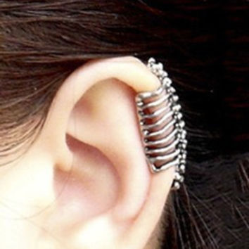 Retro Fashion Jewelry Earrings Punk Rock Style Skull Spine No Pierced Ear Clip
