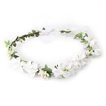 M MISM Summer Wedding Floral Crown Head Band female Flower Headband Bridesmaid Bridal Headpiece Girls Flowers hair accessories