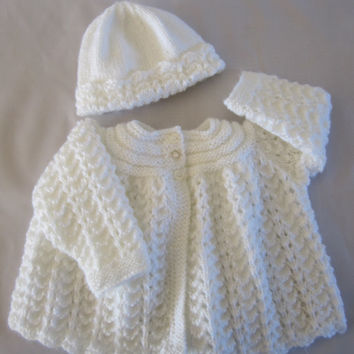 Baby Sweater cardigan and Bonnet Take me Home Set Hand Knitted Matinee Jacket 0-9mths