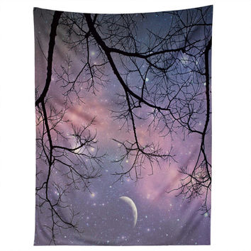 Starry Night Sky Wall Hanging. Wall Art. Tapestry. Purple night sky. Stars and Moon. Dorm Decor. Girly Home Dreamy Photography. Trees