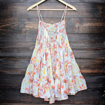 gauze orange floral circle slip dress