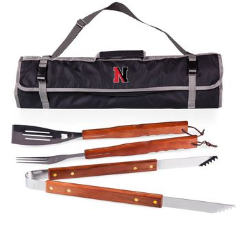 Northeastern Huskies 3-Pc BBQ Tote & Tools Set-Black Digital Print